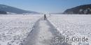 Ice skating at Lac de Joux, Vallee de Joux, Switzerland - (winter season)
